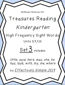 Treasures K Series High Frequency Sight Words Set#3