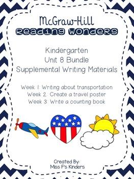 McGraw Hill Kindergarten Reading Wonders Unit 8 Writing Bundle