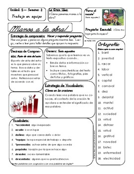 McGraw Hill Maravillas Unidad 5 Semana 3 EFL 3rd Grade Focus Wall