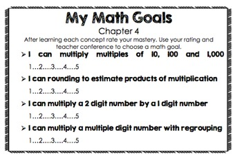 McGraw-Hill My Math Reflection and Goal Sheets for interactive notebooks