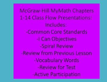 McGraw-Hill MyMath Chapters 1-14 Class Flow Presentations 4th Grade