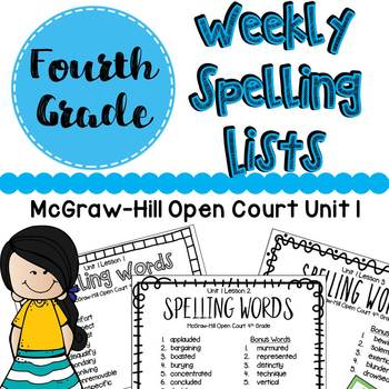 McGraw Hill Open Court Spelling List Unit 1 : Fourth Grade
