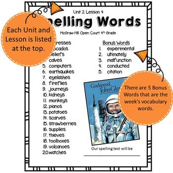 McGraw Hill Open Court Spelling Lists Unit 2 : Fourth Grade