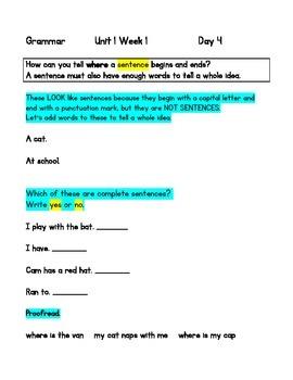 McGraw Hill Reading WONDERS GRAMMAR PDFs For The 1st Grade Teacher