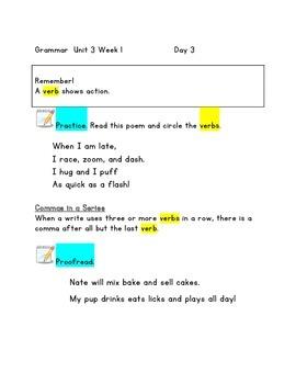 McGraw Hill Reading WONDERS GRAMMAR PDFs Unit 3 First Grade