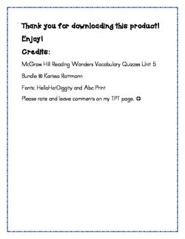 McGraw Hill Reading Wonders Grade 4 Unit 5 Vocabulary Quiz Bundle