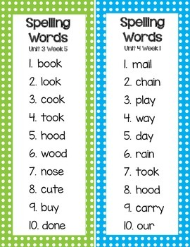 McGraw-Hill Reading Wonders 1st Grade Spelling Word List Cards