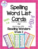 McGraw-Hill Reading Wonders 2nd Grade Spelling Word List Cards
