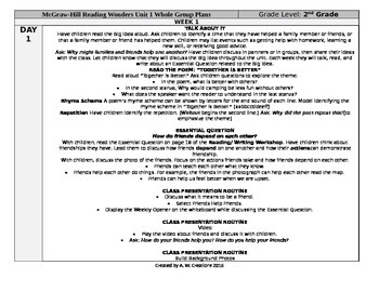 McGraw-Hill Reading Wonders 2nd Grade UNIT 1 WEEK 1 Whole Group Plans