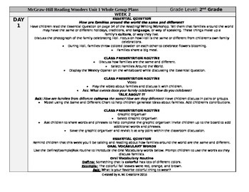 McGraw-Hill Reading Wonders 2nd Grade UNIT 1 WEEK 2 Whole Group Plans