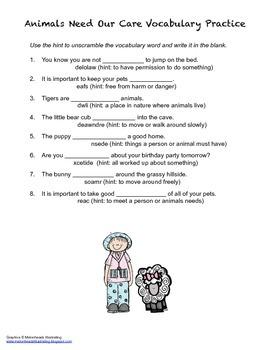 McGraw Hill Reading Wonders © 2nd Grade Unit 1 Week 4 Vocabulary Practice