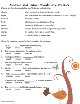 McGraw Hill Reading Wonders © 2nd Grade Unit 2 Week 1 Vocabulary Practice