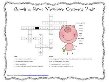 McGraw Hill Reading Wonders © 2nd Grade Unit 2 Week 5 Vocab Crossword Puzzle