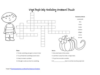McGraw Hill Reading Wonders © 2nd Grade Unit 3 Week 3 Vocab Crossword Puzzle