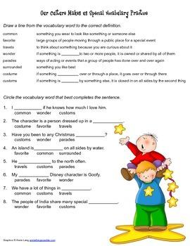 McGraw Hill Reading Wonders © 2nd Grade Unit 4 Week 3 Vocabulary Practice
