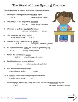 McGraw Hill Reading Wonders © 2nd Grade Unit 6 Week 5 Spelling Practice