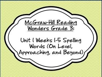 McGraw-Hill Reading Wonders 3rd Grade Unit 1 Weeks 1-5 Spelling Words