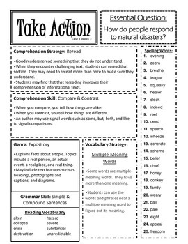 McGraw Hill Reading Wonders Unit 1 4th Grade Weekly Focus Sheets