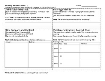 McGraw-Hill Reading Wonders 4th grade skills sheet for Unit 1 Week 3