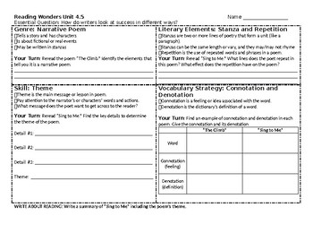 McGraw-Hill Reading Wonders 4th grade skills sheet for Unit 4 Week 5