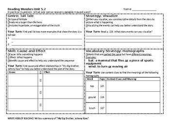 McGraw-Hill Reading Wonders 4th grade skills sheet for Unit 5 Week 2