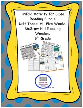 McGraw Hill Reading Wonders 5th Grade Unit 3 Trifold Activity Bundle
