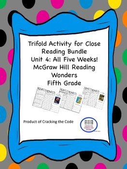 McGraw Hill Reading Wonders 5th Grade Unit 4 Trifold Activ