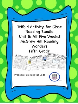 McGraw Hill Reading Wonders 5th Grade Unit 5 Trifold Activity Bundle