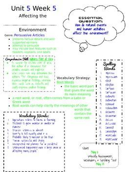 McGraw Hill Reading Wonders 5th Grade Unit 5 Week 5 Newsletter