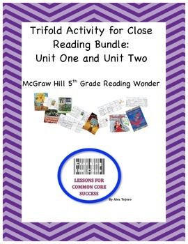 McGraw Hill Reading Wonders 5th Grade Unit One and Two Trifold Activity Bundle