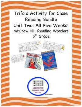 McGraw Hill Reading Wonders 5th Grade Unit Two Trifold Activity Bundle
