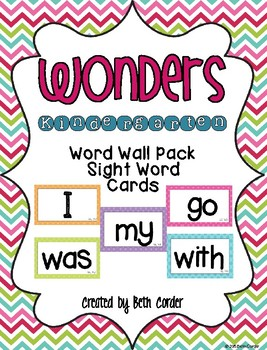 McGraw-Hill Reading Wonders Common Core Kindergarten Word Wall Sight Words