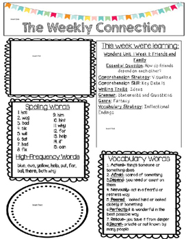 McGraw-Hill Reading Wonders EDITABLE 2nd grade Weekly Newsletter UNIT 1