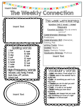 McGraw-Hill Reading Wonders EDITABLE 2nd grade Weekly Newsletter UNIT 1-6 BUNDLE