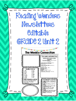 McGraw-Hill Reading Wonders EDITABLE 2nd grade Weekly Newsletter UNIT 2