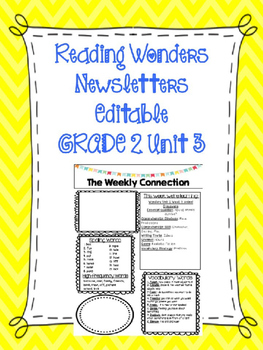 McGraw-Hill Reading Wonders EDITABLE 2nd grade Weekly Newsletter UNIT 3