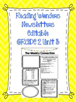 WONDERS EDITABLE 2nd grade Weekly Newsletter UNIT 3