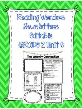 McGraw-Hill Reading Wonders EDITABLE 2nd grade Weekly Newsletter UNIT 6