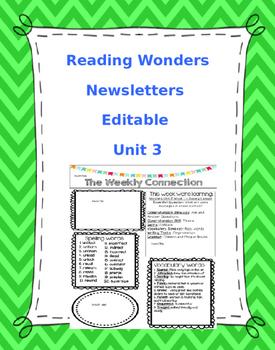 WONDERS EDITABLE 4th grade Weekly Newsletter UNIT 3