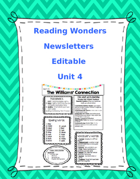 McGraw-Hill Reading Wonders EDITABLE 4th grade Weekly Newsletter UNIT 4