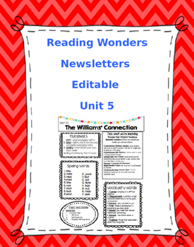 McGraw-Hill Reading Wonders EDITABLE 4th grade Weekly Newsletter UNIT 5