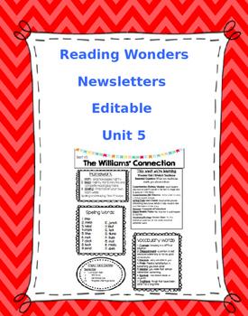 WONDERS EDITABLE 4th grade Weekly Newsletter UNIT 5