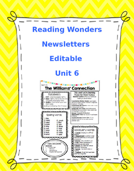 McGraw-Hill Reading Wonders EDITABLE 4th grade Weekly Newsletter UNIT 6