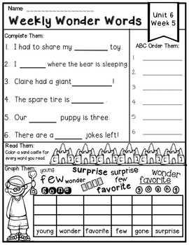 Weekly Wonders High-Frequency Words & Phonics for First Grade