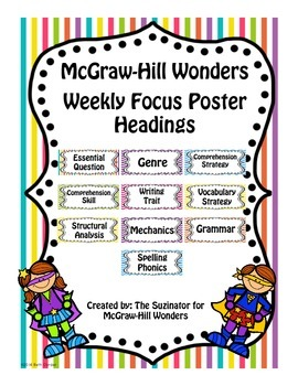 McGraw-Hill Reading Wonders Focus Wall Headers