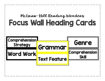 McGraw-Hill Reading Wonders Focus Wall Heading Cards