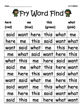 McGraw-Hill Reading Wonders Sight Word Color Find Unit 8-Unit 10