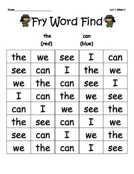 McGraw-Hill Reading Wonders Sight Word Color Finds Smart Start-Unit 3