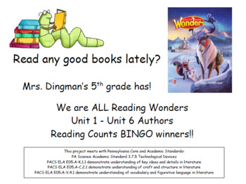 McGraw-Hill Reading Wonders Gr5 Author RC or AR BINGO