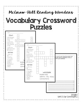 McGraw-Hill Reading Wonders Grade 1 Unit 2 Vocabulary Crossword Puzzles
